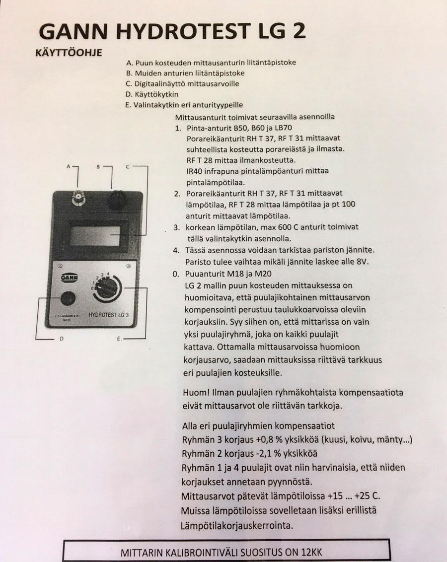 Kosteusmittari Gann LG2 käyttöohje